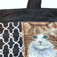 Cat Tote Bag Pocket NEW Quilted Cotton Handmade Purse Shoulder Black Vintage