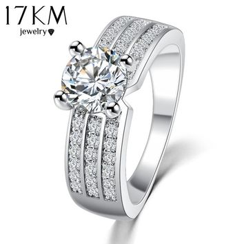 17KM 2017 New Simple Style Finger Rings Rose Gold Color Zircon Fashion Jewelry Crystal Ring Anniversary Wedding Jewelry