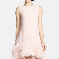 Women's ERIN erin fetherston 'Phoebe' Ostrich Feather Hem Chiffon Shift Dress,