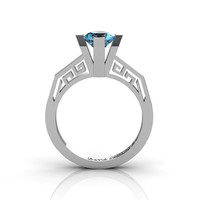 Modern Classic 14K White Gold 1.0 Carat Blue Topaz Bridal Solitaire Wedding Ring Engagement Ring R1024-14KWGBT