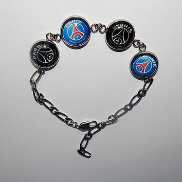 Paris Saint-Germain football bracelet, PSG fc bracelet jewelry, PSG logo simbol, football team, PSG soccer fc bracelet, sports bracelet