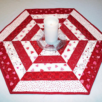 Hexagon Quilted Table Runner, Valentines Day Table Topper or Candle Mat, Red and White with Hearts and Polka Dots