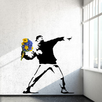 Rage, The Flower Thrower - Banksy Wall Decals