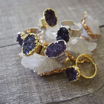 Amethyst Druzy Ring Oval Gemstone Ring Gold Plated Ring Gemstone Ring Golden Size 7