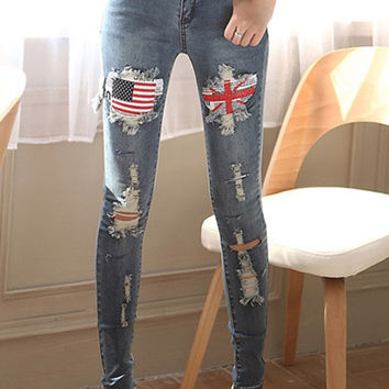 Union Jack and American Flag Pattern Broken Hole Jeans