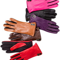 Charter Club Leather Tech Touch Button Trim Gloves