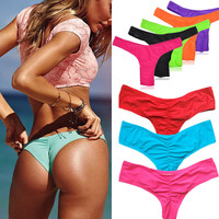 2016 Sexy New Beach V Style Sexy Women Thong Bikini Underwear Brazilian Bikini Bottom Ladies Ruched Back Bathing Suit