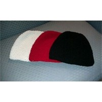 SET of Three BEANIES (adult size Red, White, and Black hats)