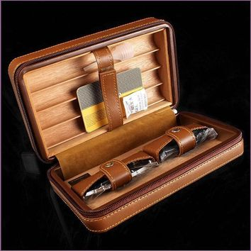 Top- Quality COHIBA Four pack cigar case leather Portable Cigar humidor include Cigar Scissors and Lighters