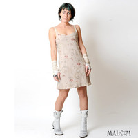 Silk slip dress - Beige floral embroidered silk crepe - sz S - Sexy dress