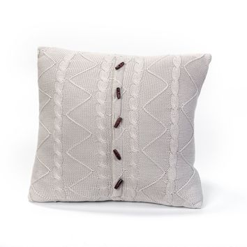 HARBOR GREY CABLE AND TWIST KNIT PILLOW