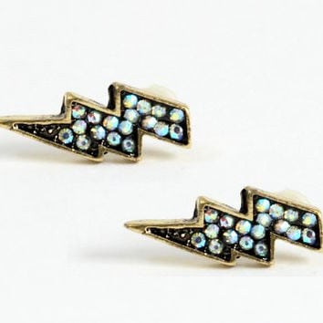 Lightning Bolt Stud Earrings Pave Aurora Crystal Zap Posts Statement EE18 Fashion Jewelry