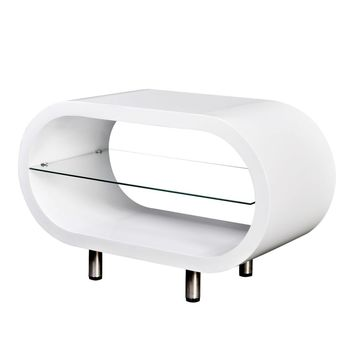 High Gloss White TV Stand/Coffee Table Oval