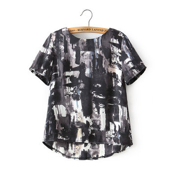 Summer Women's Fashion Tops Round-neck Short Sleeve Abstract Shirt [5013421892]