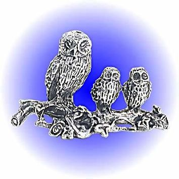Owl Family Pewter Figurine  Lead Free