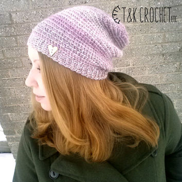 Sweetheart Crochet Slouchy Hat - Pink Crochet Slouch Beanie - Valentine's Day Women's Beanie with Wooden Heart Button (Ready to Ship)