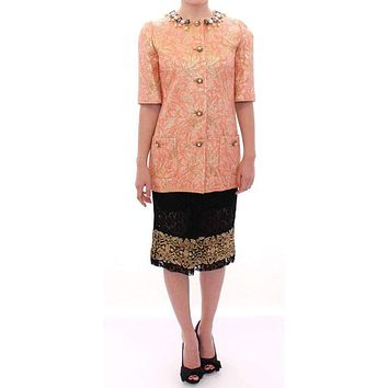 Dolce & Gabbana Pink Silk Brocade Crystal Jacket Coat
