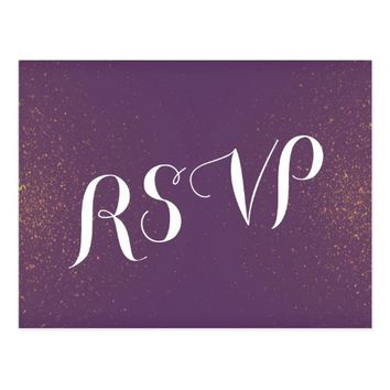 Purple & Gold Glitter Sparkle Wedding Shower RSVP Postcard