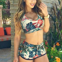 Hot Sale Summer Beach Flowers Print Bikini Two-Piece Set