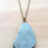 Smooth Pyrite Slab Long Necklace