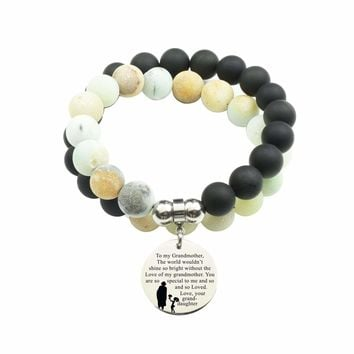 Genuine 10Mm Double Wrap Obsidian Amazonite Mix Bracelet - To Grandmother From Granddaughter