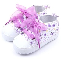 Baby Kids Girls Cotton Floral Infant Soft Sole Shoes Toddler First Walker Casual Baby Shoes