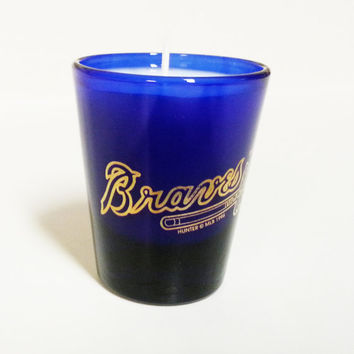 Atlanta Braves Candle - Soy Shot Glass Candle, Blue - CHOICE OF SCENT