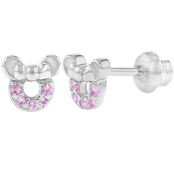 925 Sterling Silver Screw Back Tiny Mouse Baby Girl Earrings Infants Pink CZ