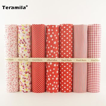 Red Color Plain Cotton Fabric Differnent Style for Needlework Sewing Patchwork Material Home Square Meter Textile 7 Design Toys
