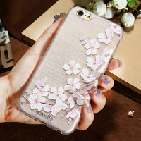 Pretty 3D Embossed Flower Art Print Phone Cases For iPhone 6 7 6S Plus 5S SE Case TPU Cover For Samsung Galaxy S6 S7 Edge Coqu