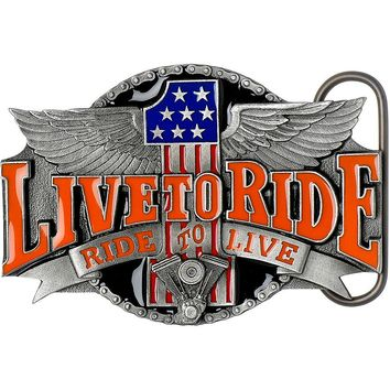 Number One LIVE TO RIDE, RIDE TO LIVE Belt Buckle