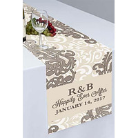 Silver Flourish Floral Printed Cloth Table Runner - PTR112