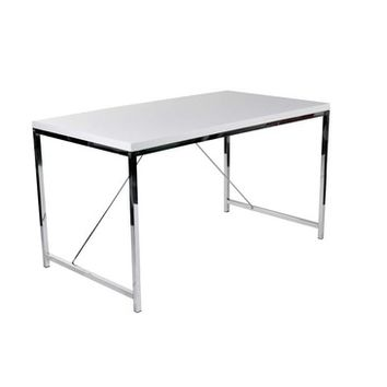 Eurostyle Gilbert Office Desk w/ Chromed Steel Base in White Lacquer