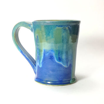 Blue Handmade Ceramic Pottery Mug,12 oz. Coffee Mug,Beer Mug,Hot chocolate mug,Ready to Ship,Blue and green pottery mug,stein