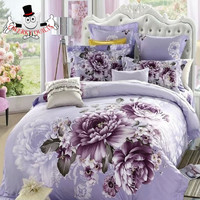 Sexy Plum Floral Peony Bedding Set and Quilt Cover