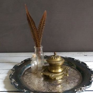Art Nouveau Inkwell/ Brass Inkwell/ Art Nouveau Replica Inkwell/ Antique Inkwell/ Vintage Brass Ink Pot/ Brass Trinket Dish/ Office Decor