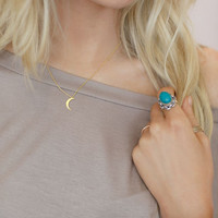 Tiny Crescent Moon Charm Necklace - three bird nest