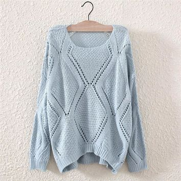 Fashion Women's Blue Hollow Knit Pullover Sweater