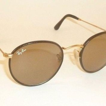 Gotopfashion RAY BAN Round Metal Matte Gold Frame Brown Leather RB 3475Q 112/53 Brown Lenses