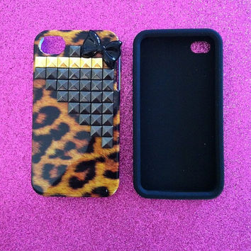 iPhone 4 4s Case  Leopard Case with Gun Metal x Gold by JMxSweets