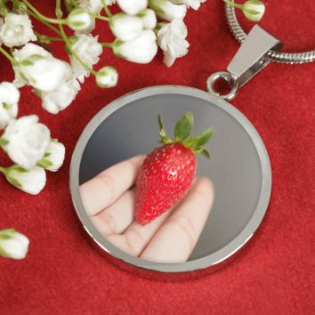 Luxury Adjustable Necklace With Strawberry Surgical Steel and Shatterproof Glass Pendant