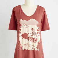 Quirky Mid-length Short Sleeves Snow Day Like Today Tee