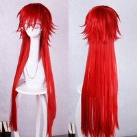 Anime Black Butler Grell Sutcliff 100cm Long Red Cosplay Wig Heat Resistent Hair Wigs Not Include Accessories