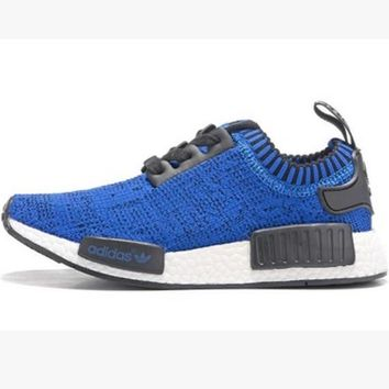 "Women ""Adidas"" NMD Boost Casual Sports Shoes Blue black lace up"