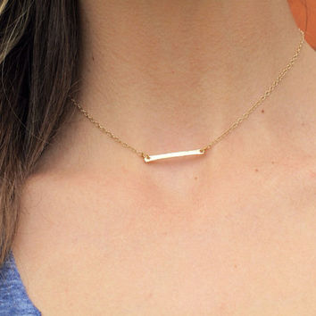 SHOP SALE - Petite Gold Bar Necklace 14k Gold Plated