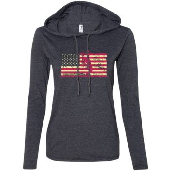 Female Tennis Player Silhouette On The American Flag Ladies LS T-Shirt Hoodie