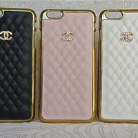 Gold Monogram Case for Iphone 6 PLUS with Swarovski Crystals, Leather Quilted, Sparkles