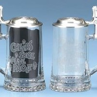 0.4 Liter Cheers Glass Beer Stein with Pewter Lid