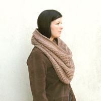 Oversized Chunky Snood Scarf, Infinity Cowl in the color Tan, Beige, Neutral, Rustic scarf, Chunky warm scarf, gift for her, natural scarf
