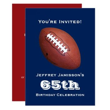 65th Birthday Party Invitation, Football Card